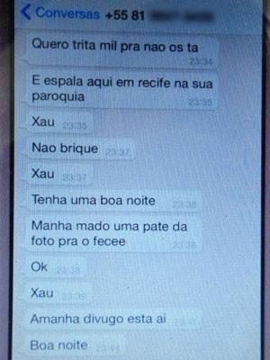 GOE divulgou parte das mensagens recebidas pelo padre (Foto: Reprodução / Lorena Andrade / TV Globo)