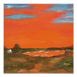 Red Sky At Night From Original Painting Poster print