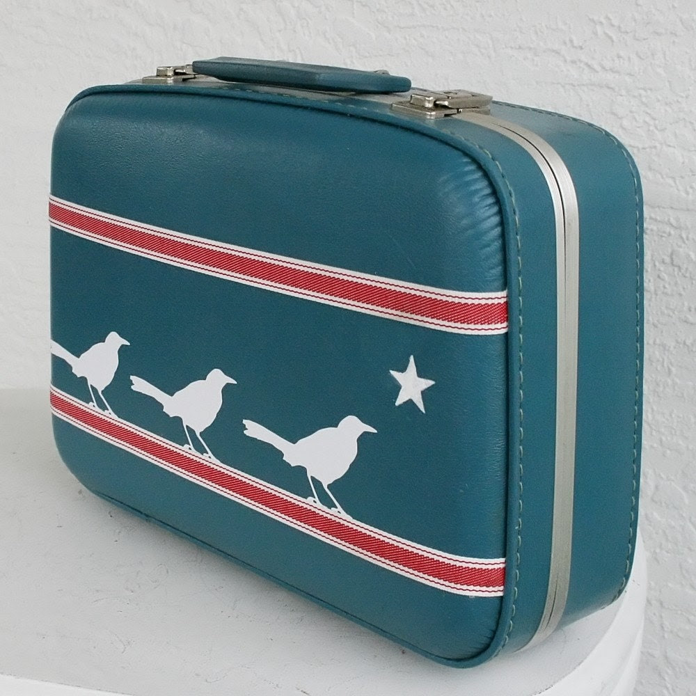 UPCYCLED Blue Small VINTAGE Suitcase with 3 White Vinyl Birds Star and Red w White RIbbon Tape