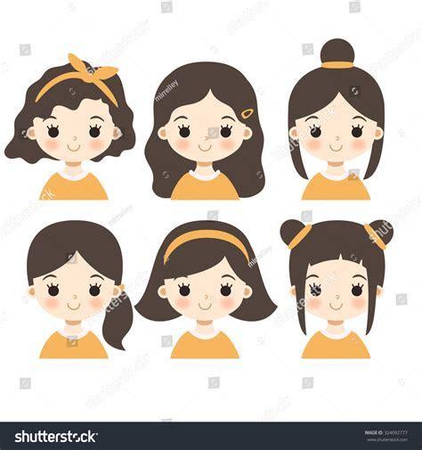 Set Six Cute Cartoon Girl Characters Stock Vector 324092777   Shutterstock