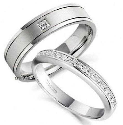 950 PLATINUM MATCHING HIS & HERS WEDDING BANDS DIAMONDS