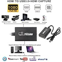 SaiRetail.Com Live Video & Game Capture Device HDMI to USB 3.0 Full HD Live Video Capture Game Capture Recording Box Dual HDMI USB 3.0 Adapter Video & Audio Grabber for Xbox PS4