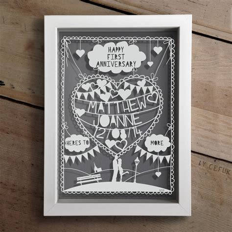 Personalised First Anniversary Papercut   First