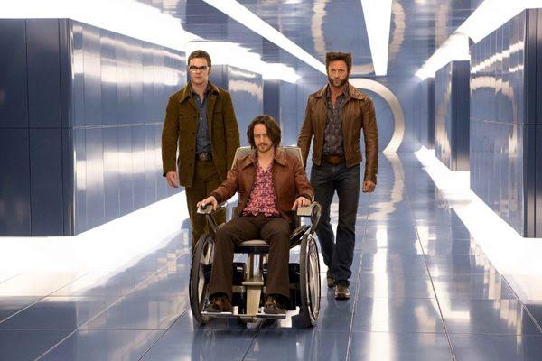 Hank McCoy (Nicholas Hoult), Charles Xavier (James McAvoy) and Wolverine (Hugh Jackman) head towards Cerebro in X-MEN: DAYS OF FUTURE PAST.