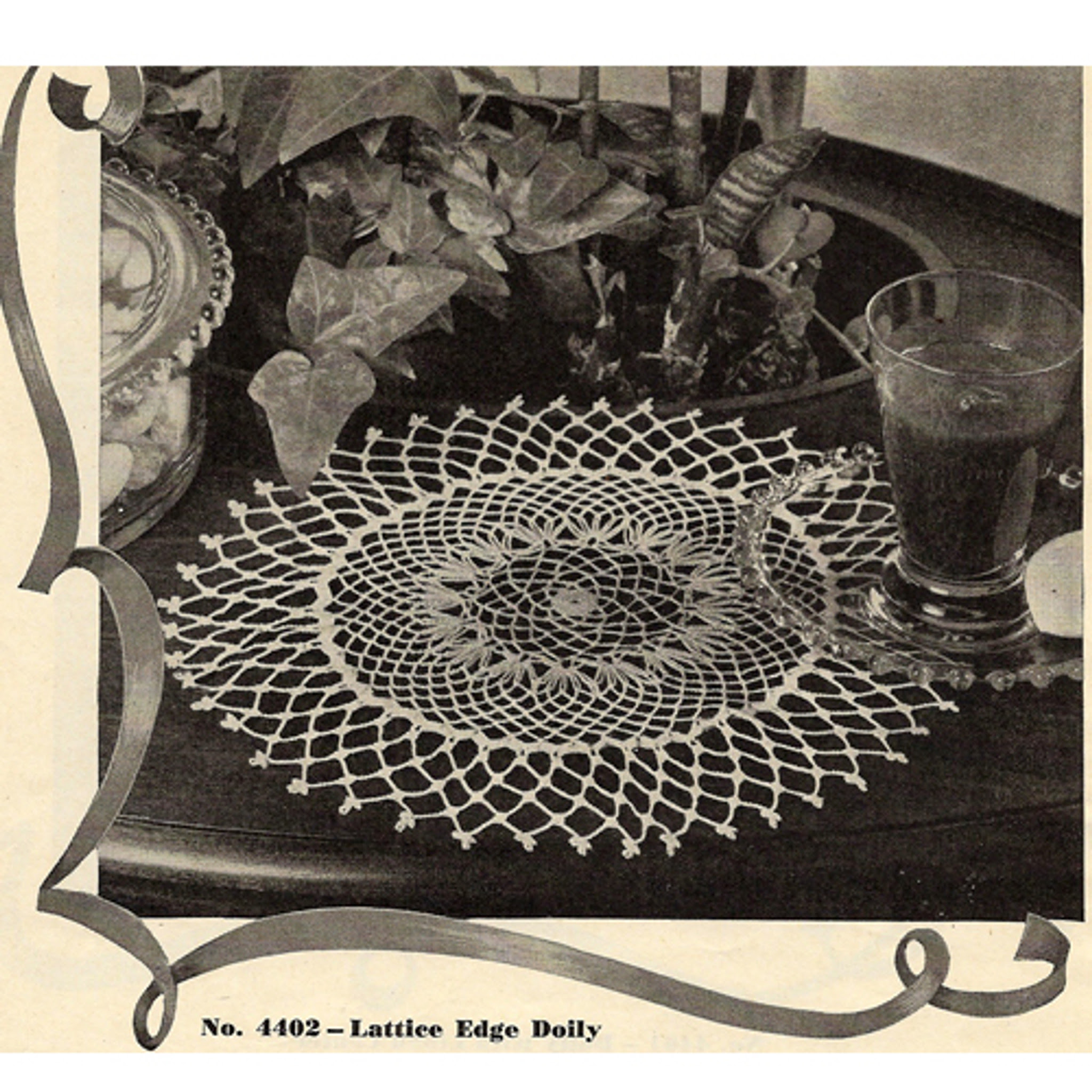 Crochet Doily Pattern No 4402, Lattice Doily