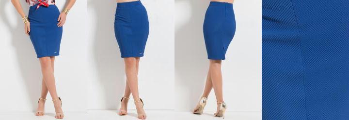 Saia Colcci Azul Modelo Lápis