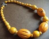 Orange You Happy Wooden Beaded necklace