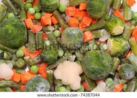 Frozen Vegetables With Ice Crystals And Frost. A Series Of ...