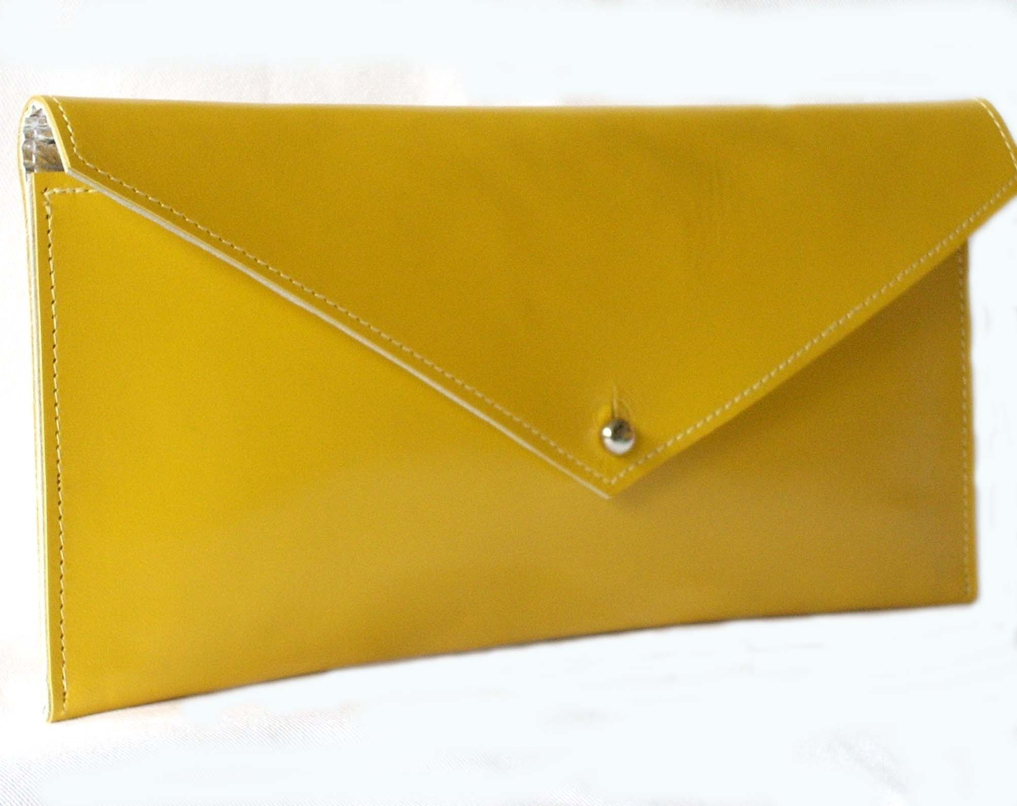 Bold yellow leather clutch - FREE SHIPPING