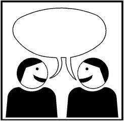 Piktogramm Kooperatives Lernen - Partnerarbeit #1 - Partnerarbeit, Sozialform, Arbeitsform, Dialog, Gespräch, Gedankenaustausch, sprechen, reden, austauschen, zwei