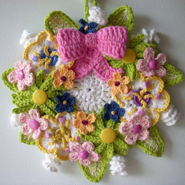 "Crochet 14"" Floral wreath.  Designed by Jerre Lollman"