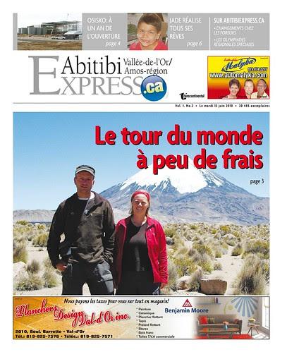 Abitibi express un article sur notre tour du monde