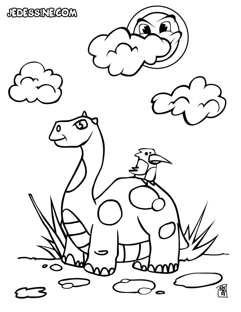 coloriage coloriage d un dinosaure et d un oiseau wdf