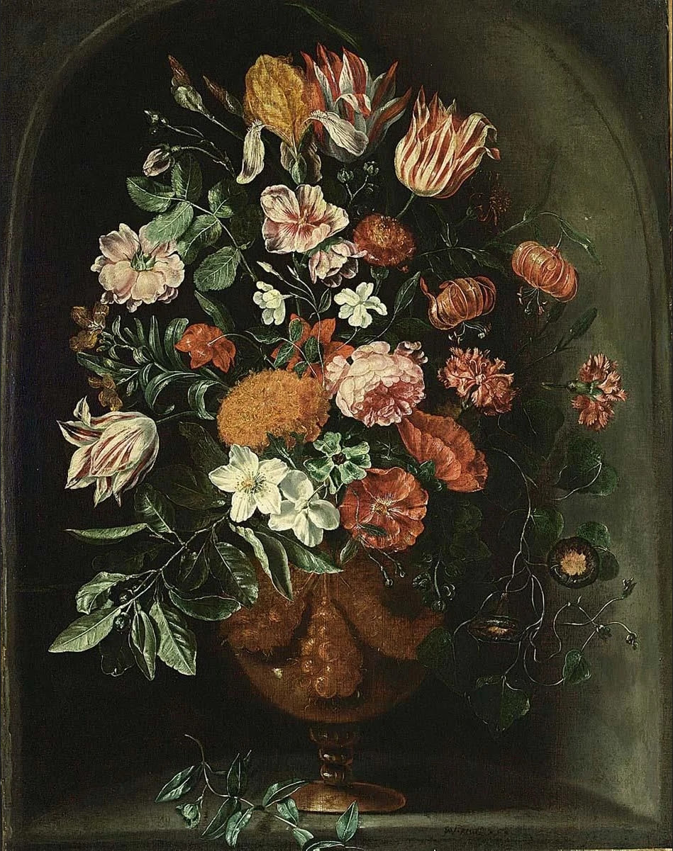 File:Kessel, Peter - A still life with tulips in a stone niche.jpg