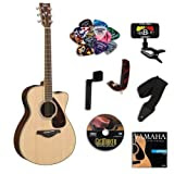 Yamaha FSX730SC Small Body Acoustic-Electric Guitar Bundle w/Legacy Acc Kit (Tuner,DVD, Capo and More)