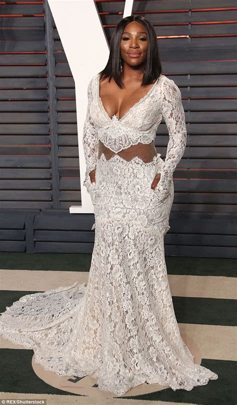 Serena Williams wears a bridal chic dress at Vanity Fair