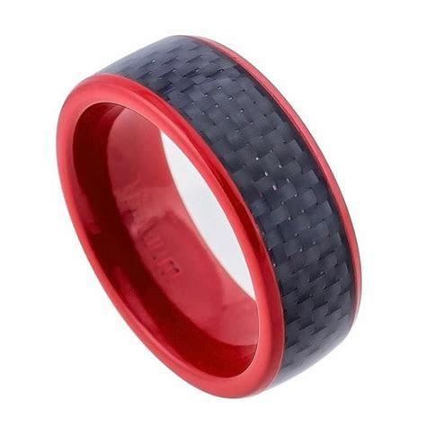 Titanium Ring,Red Titanium Wedding Band, Valentines Gift