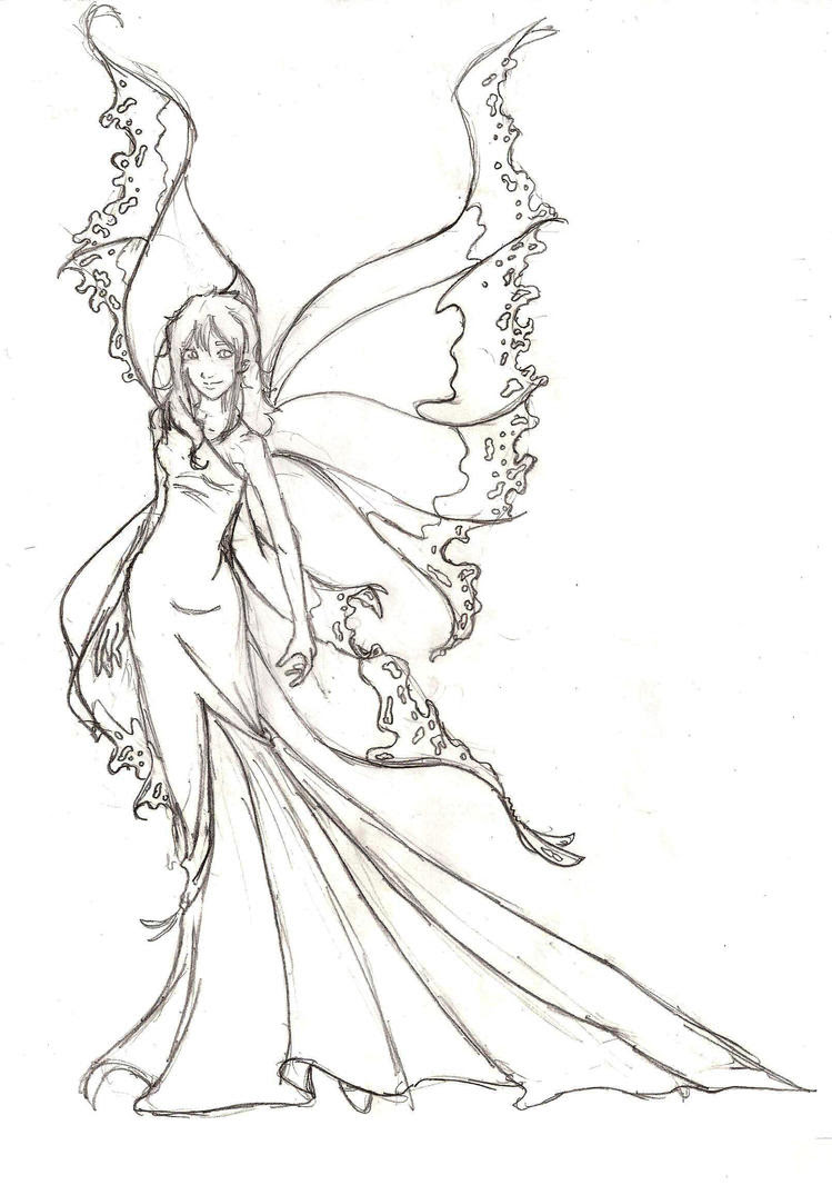 Fire Fairy Wings Drawings Sketch Coloring Page