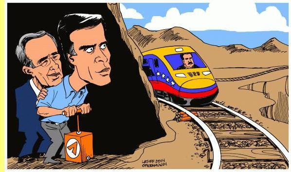Os terroristas Álvaro Uribe & Leopoldo Lopez, cartoon de Latuff.