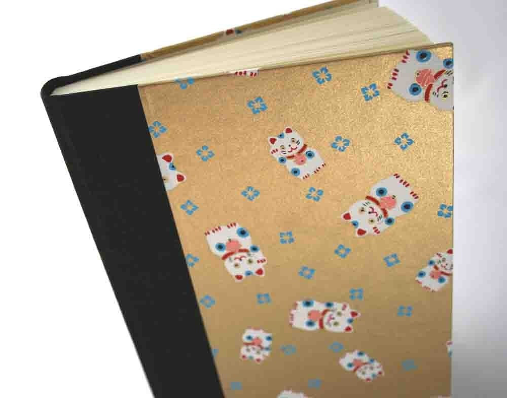Handbound Lined Journal - lucky black cat with gold