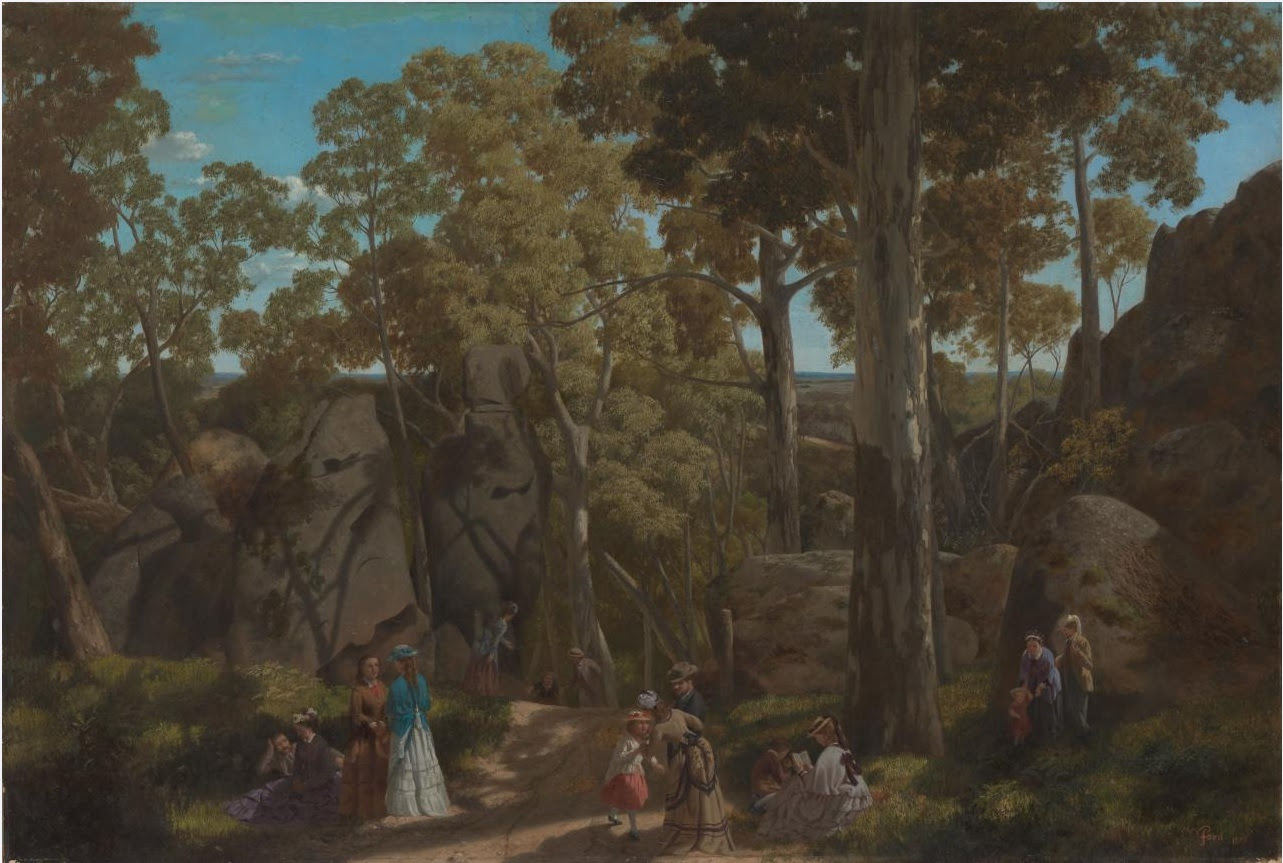 'Visitantes en Hanging Rock' - Cuadro de William Ford (1875)