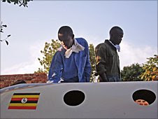The Ugandan flag is painted on the cockpit