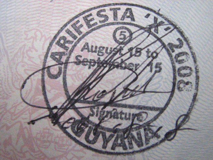 carifesta immigration stamp