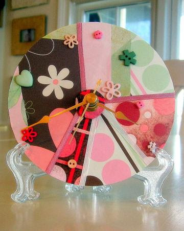 Pink & Green Collage Upcycled CD Clock
