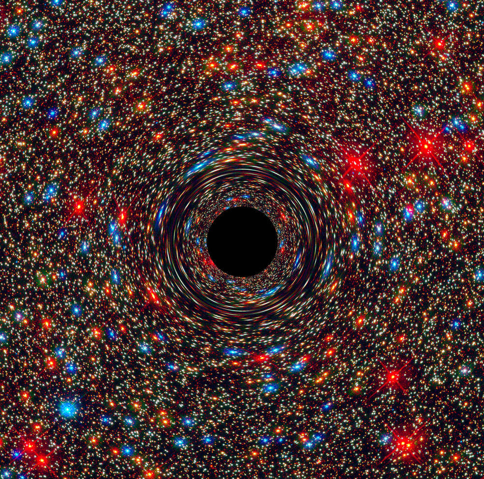 Computer simulation of a supermassive black hole at the core of a galaxy