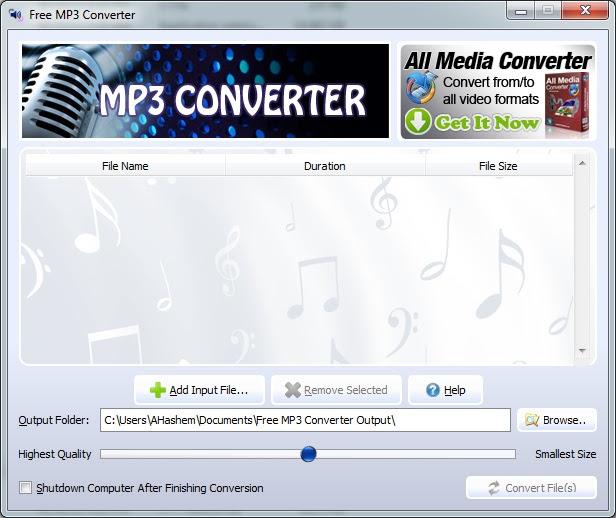 برنامج Free MP3 Converter لتحويل جميع صيغ الصوت إلي MP3