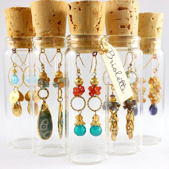 corked vial packaging | beautiful earrings by briolette jewelry