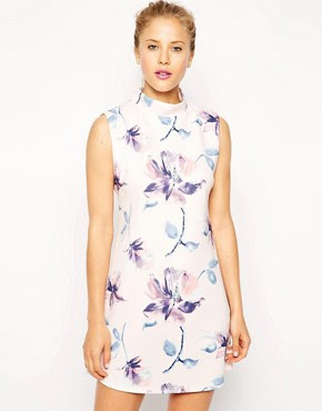 Image 1 of ASOS Shift Dress with High Neck in Scuba Floral Print