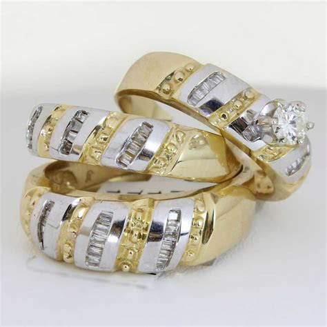 1.25ct TCW 18K Two Tone Gold Trio Ring Set  9005411   Shop