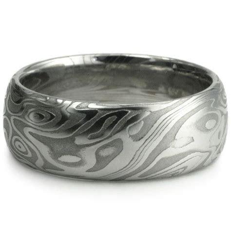 Wedding Ring for Men. Damascus Steel Domed Wide Men's Band