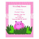 Pink Hippo Baby Shower Invitation