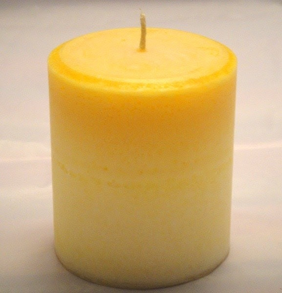 PARADISE and FRENCH VANILLA DUOTONE PILLAR CANDLE, 14 ounces, 397 grams