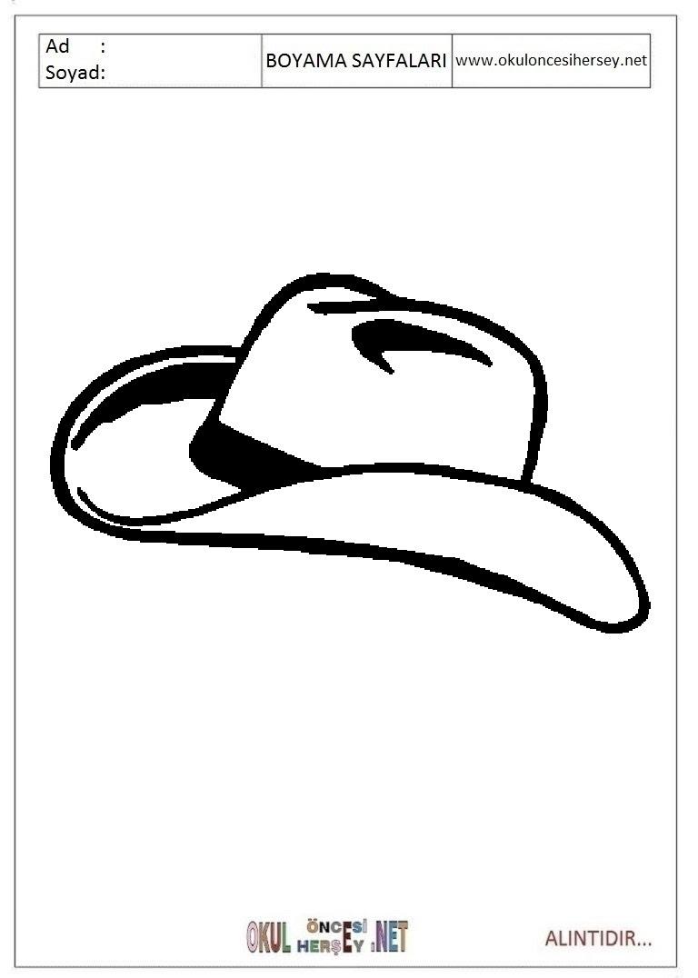 şapka Boyama Sayfaları