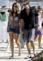 Cindy Crawford wearing Current Elliott Cut Off Shorts