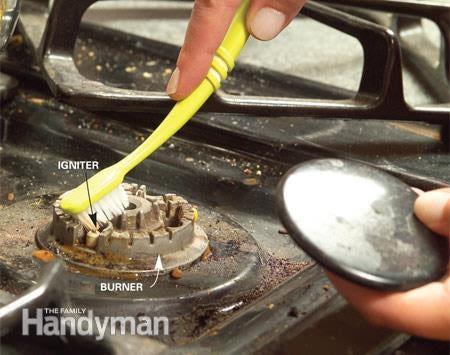 limpeza do queimador do fogão a gás