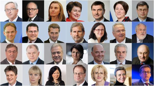 El Presidente electo Jean-Claude Juncker y los candidatos a comisarios europeos.