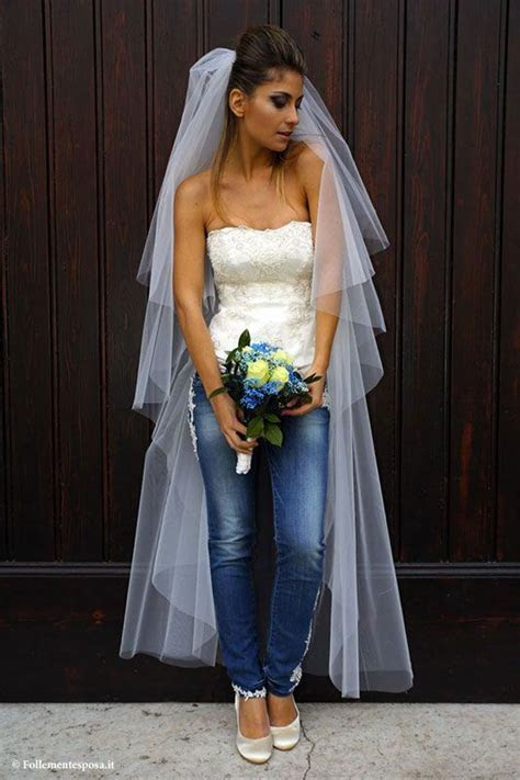 Bride in jeans.   Ideas in 2019   Denim wedding dresses