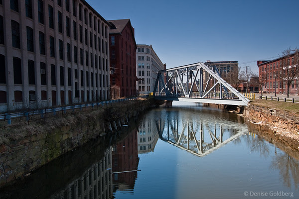reflections, mill buildings, canal, Lawrence Massachusetts
