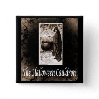 Vintage Halloween Cauldron Pinback Button