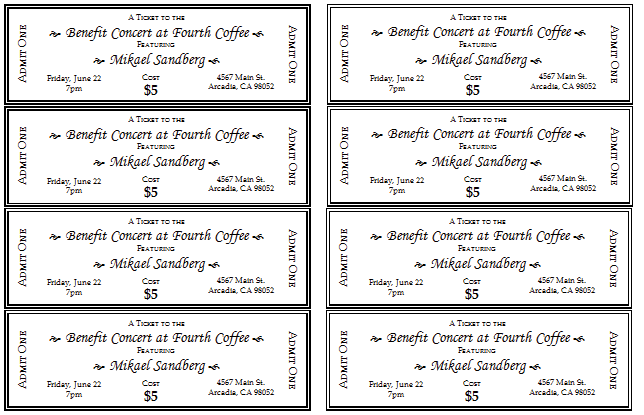 Event Ticket Template - Templates for Microsoft® Word