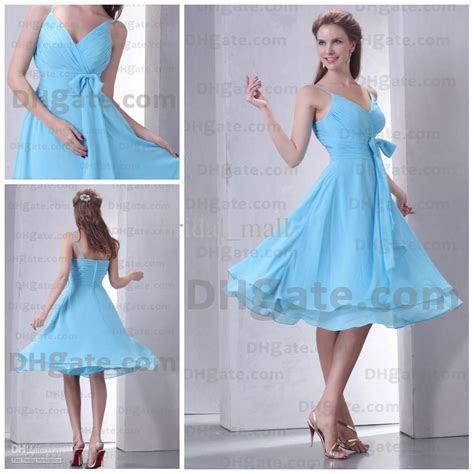 Cheap V Neck Knee Length Light Sky Blue Bridesmaid Dresses