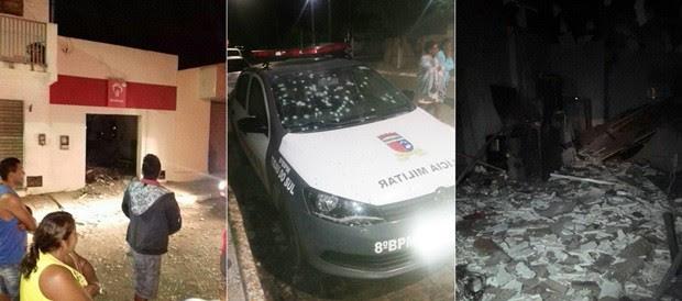 Em Montanhas, alvo foi um terminal do Bradesco. Já em Tibau do Sul, além de explodirem o caixa do Banco do Brasil, os criminosos ainda metralham a base e um carro da PM (Foto: PM/Divulgação)