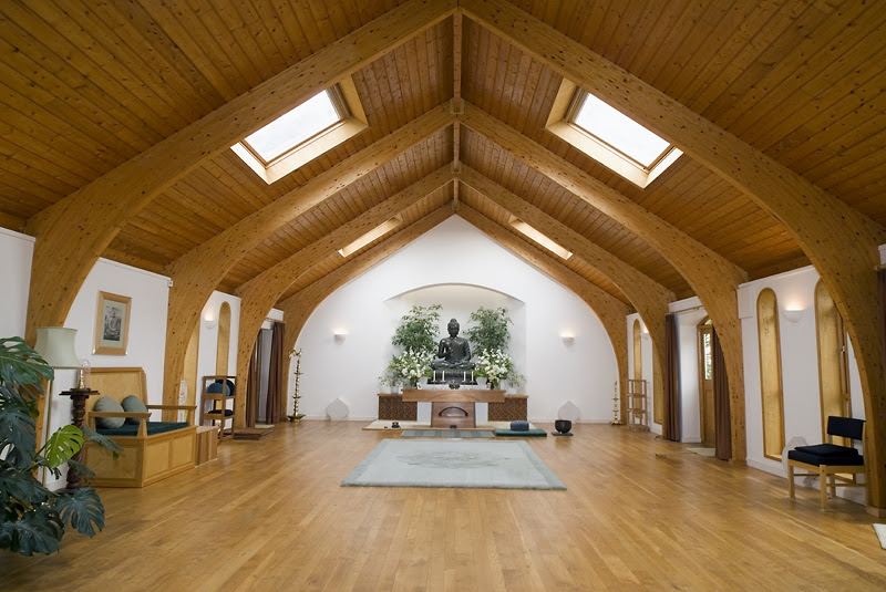 Example of a meditation hall in the middle of the woods