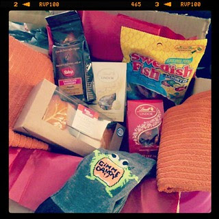 Belated birthday surprise box from a friend. #swedishfish #lindt #chocolate #coffee #socks #fall stuff