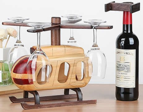 Wooden Helicopter Wine Bottle Holder Wine Glass Holder Stemware Rack