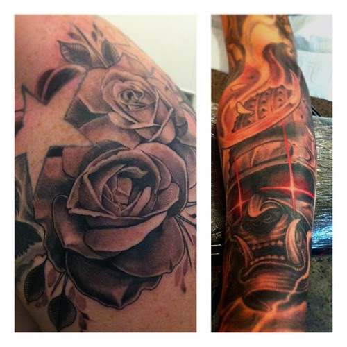 Some Roses And A Samurai Mask Ive Done In Australia My Times Is